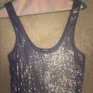 Sequin Gray tank top from Express